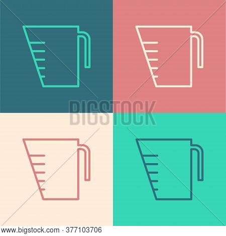 Pop Art Line Measuring Cup To Measure Dry And Liquid Food Icon Isolated On Color Background. Plastic