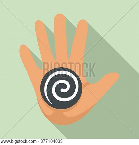 Hand Spiral Hypnosis Icon. Flat Illustration Of Hand Spiral Hypnosis Vector Icon For Web Design