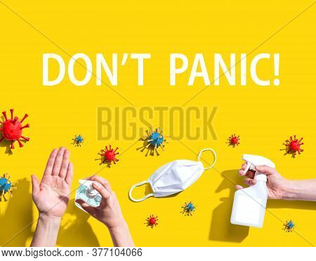 Dont Panic Theme With Hygiene And Viral Objects