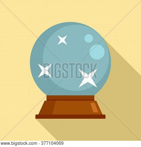 Fortune Teller Glass Ball Icon. Flat Illustration Of Fortune Teller Glass Ball Vector Icon For Web D