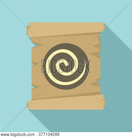 Hypnosis Spiral Papyrus Icon. Flat Illustration Of Hypnosis Spiral Papyrus Vector Icon For Web Desig