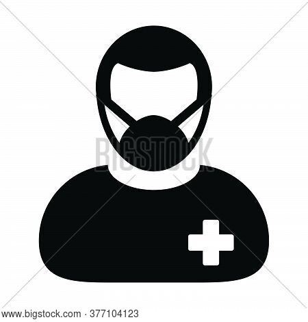 Patient Icon Vector With Face Mask Person Profile Male User Avatar Symbol For Medical And Health Car
