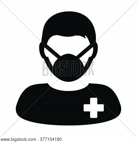N95 Mask Icon Vector With Patient Person Profile Male User Avatar Symbol For Medical And Health Care