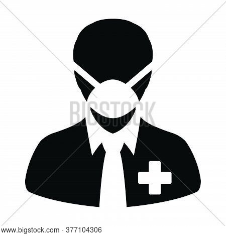 Facial Mask Icon Vector With Patient Person Profile Male User Avatar Symbol For Medical And Health C