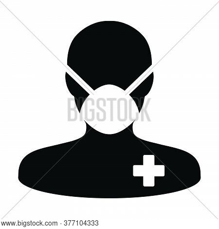 Male Icon Vector With Face Mask Patient Person Profile Man Avatar Symbol For Medical And Health Care