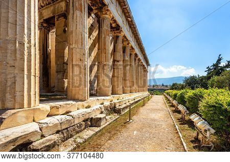 Temple Of Hephaestus In Ancient Agora On Sunny Day, Athens, Greece. House Of Hephaestus Is Famous La