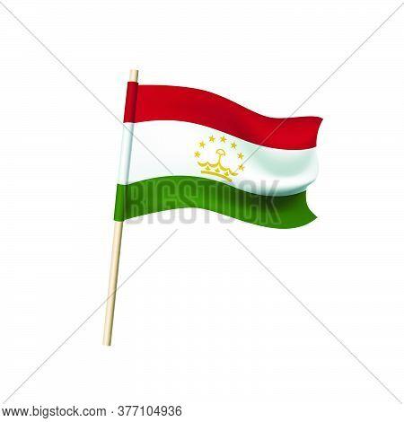Tajikistan Flag (golden Crown And Stars On Red, White, Green Stripes). Vector Illustration