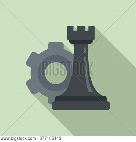Gear Strategy Rook Icon. Flat Illustration Of Gear Strategy Rook Vector Icon For Web Design