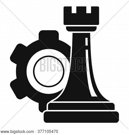 Gear Strategy Rook Icon. Simple Illustration Of Gear Strategy Rook Vector Icon For Web Design Isolat