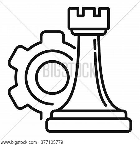 Gear Strategy Rook Icon. Outline Gear Strategy Rook Vector Icon For Web Design Isolated On White Bac