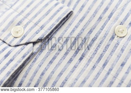 Close Up Of Men's Striped Shirt. Copy Space.