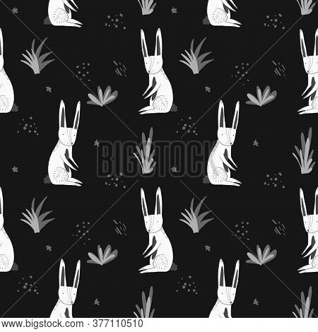 Cute Monochrome Dark Seamless Pattern With White Cartoon Rabbits, Gray Grass And Dots. Funny Hand Dr