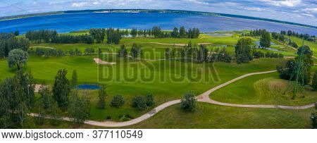 Panorama View Of Golf Course With Putting Green In Hokkaido, Japan. Golf Course With A Rich Green Tu