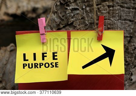 Life Purpose With Direction Sign Message On Yellow Paper Notes Hanging On Wooden Wall. Find Your Lif