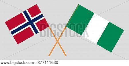 Crossed Flags Of Nigeria And Norway. Official Colors. Correct Proportion. Vector Illustration