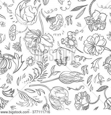 Vector Royal Baroque Line Art Elegant Floral Seamless Pattern With Hand Drawn Historic Florals On Wh