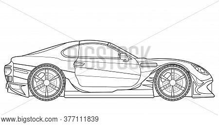 Original Design Vector Line Art Car, Concept Design. Vehicle Black Contour Outline Sketch Illustrati