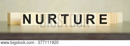 Text Nurture Written On Cubes And Dark Background. Environmental Impact. The Influence Of Money