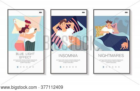 Sleep Control Social Media Stories Set. Screens User Interface Kit For Insomnia Types Or Health Slee