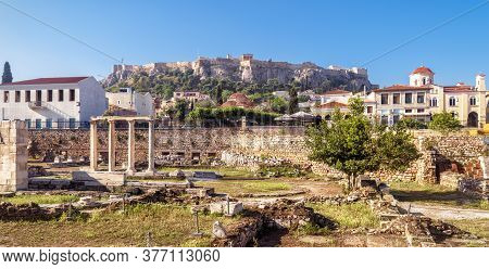 Panorama Of Library Of Hadrian Overlooking Acropolis, Athens, Greece. It Are Famous Tourist Attracti