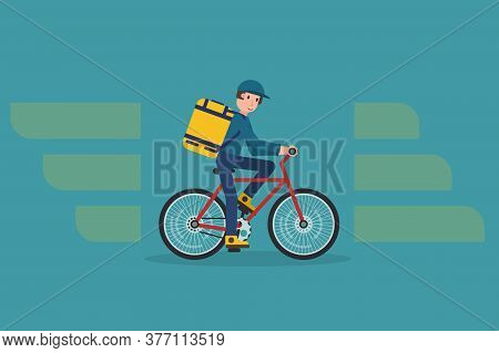 Ecological City Bicycle Delivering Service Illustration With Modern Cyclist Carrying Package. Food D