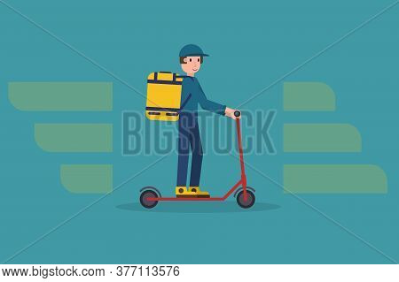 Ecological Delivering Service Illustration With Modern Delivery Man On Kick Scooter Carrying Package