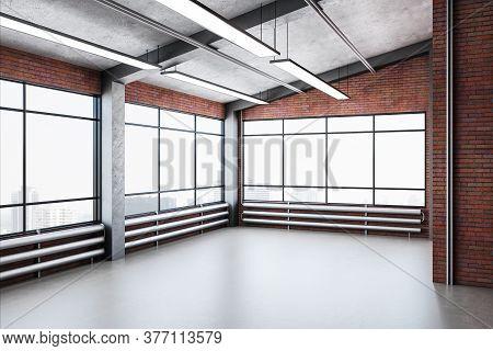 Modern Brick Gallery Interior With City View And Big Windows. Gallery, Advertisement, Presentation C