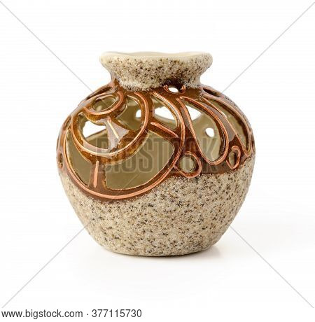 Beautiful Round Ceramic Flower Vase With Decorative Openwork Cuts Around The Narrow Neck. Isolated O