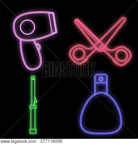 Hairdresser Set In Neon Style On A Black Background. Hairdresser Bag With A Hand-held Hairdryer For