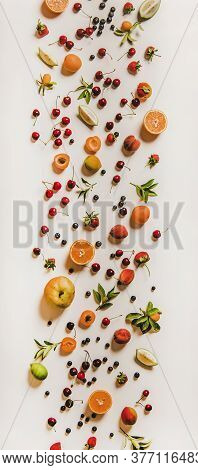 Flat-lay Of Various Summer Fruits And Berries, Vertical Composition