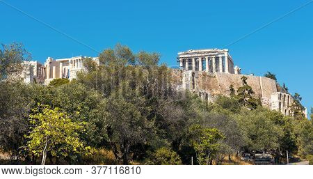 Acropolis With Old Parthenon Temple, Athens, Greece. It Is Top Landmark Of Athens. Panoramic Scenic