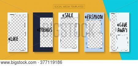 Modern Stories Vector Background. Blogger Minimal Covers, Social Media Kit Template. Online Shop Pol
