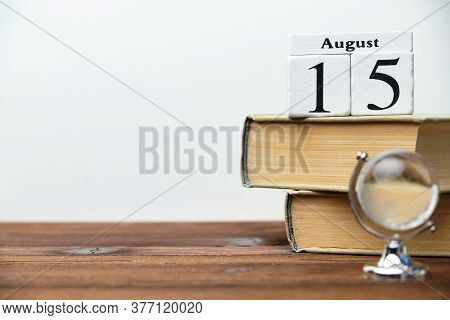 15th August - Fifteenth Day Month Calendar Concept On Wooden Blocks With Copy Space