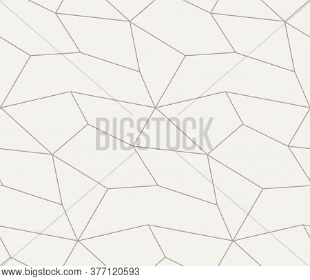 Repetitive White Vector Geo Repeat Texture. Seamless Linear Graphic, Poly Textile Pattern. Repeat Li