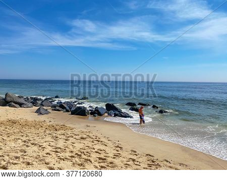 Long Branch, New Jersey - July 19: A Peaceful Day At The Beach On July 19 2020 In Long Branch Along
