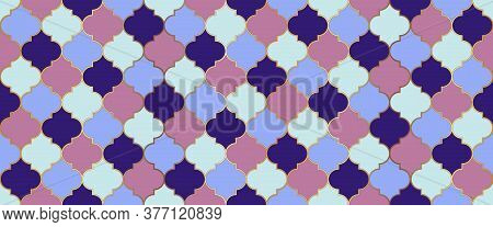 Eid Mubarak Islamic Background. Ramadan Kareem Muslim Illustration. Moroccan Seamless Mosaic Ornamen