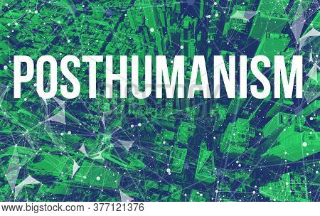 Posthumanism Theme With Abstract Network Patterns And Manhattan Ny Skyscrapers