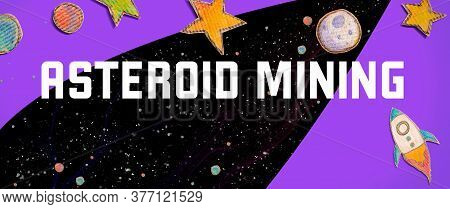 Asteroid Mining Theme With Space Background With A Rocket, Moon, Stars And Planets