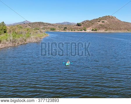 Aerial View Of Man Kayaking On Lake Hodges, Famous Lake For Water Activity In Rancho Bernardo East S