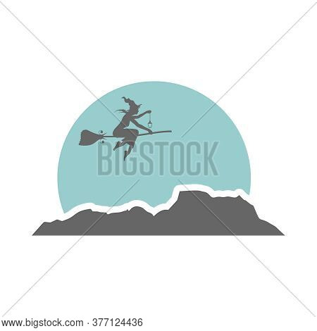 Illustration Of Flying Young Witch Icon. Witch Silhouette On A Broomstick. Lamp In Hand. Halloween R