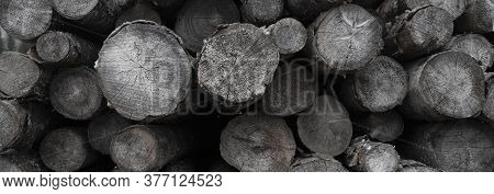 A Background Of Old Round Logs, Dark Black And White And A Textural Panorama