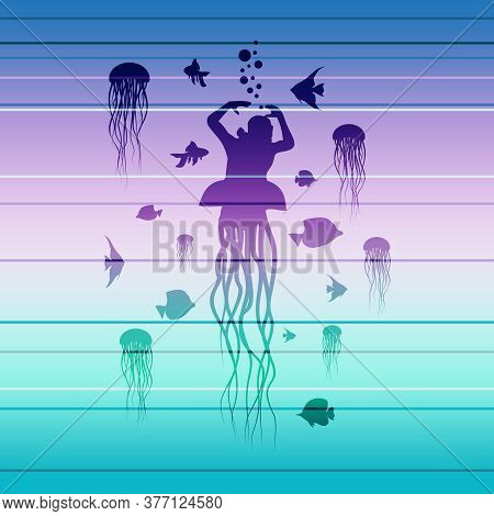 Silhouettes Of Diver And Fishes Around. Jelly Fish As Lower Part Of The Body. The Concept Of Sport D