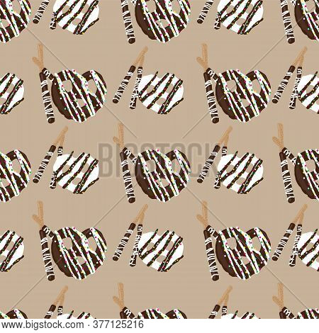 Chocolate Covered Pretzels And Stick Pretzels Seamless Pattern On Beige Background Design