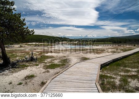Boardwalk Area For Safe Hiking In The Biscuit Basin Thermal Area Of Yellowstone National Park