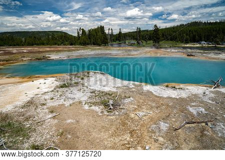 Black Diamond Pool Spring, Located In The Biscuit Basin, A Geothermal Feature Area Of Yellowstone Na
