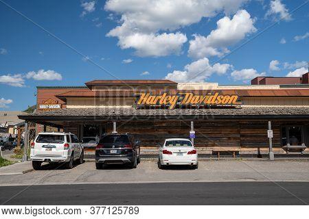 Jackson, Wyoming - June 27, 2020: A Harley-davidson Dealership In Downtown Jackson Hole, Selling Mot