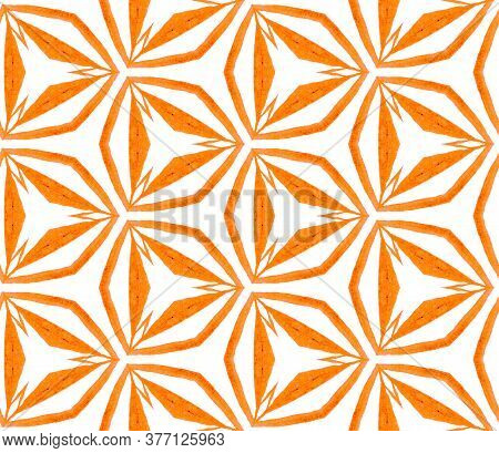 Orange Kaleidoscope Seamless Pattern. Hand Drawn Watercolor Ornament. Posh Repeating Tile. Popular F