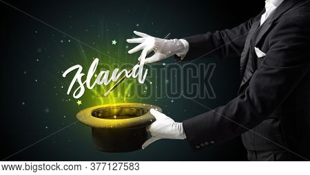 Magician is showing magic trick with Island inscription, traveling concept