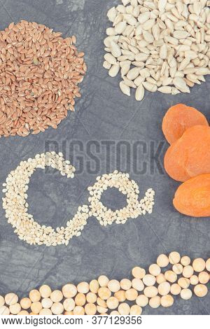 Inscription Ca With Healthy Nutritious Eating Containing Calcium, Vitamins And Dietary Fiber
