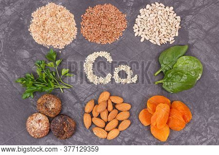 Nutritious Eating Containing Calcium. Healthy Nutrition As Source Natural Vitamins, Minerals And Die